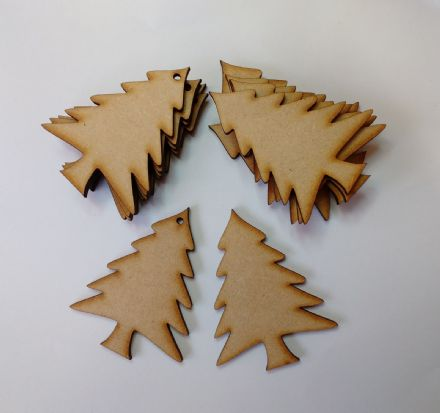 Wooden MDF XMAS TREE SHAPES Craft Blank Christmas Plaque 10 PACK 3mm Thick